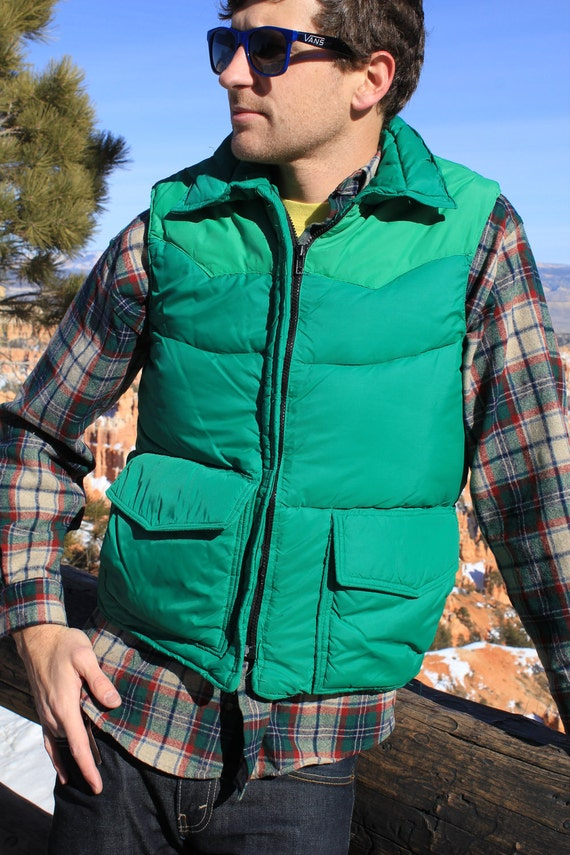 Irish Winter - Vintage 1970s Homemade Green Puffer Vest, Frostline Kit, Medium / Large