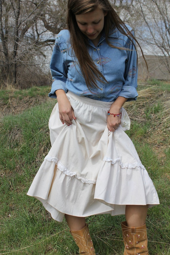 Spring Lily - Vintage Homemade Boho Cream Corduroy Skirt, Prairie Pioneer, Small