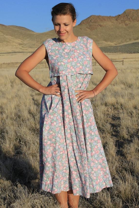 Prairie Life - Vintage Laura Ashley Floral Jumper Dress, Medium