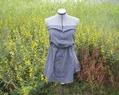 OOAK, upcycled strapless shirt dress... grey