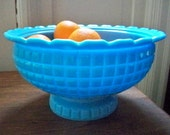 Blue milk glass bowl
