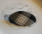 Classic black & white plaid fabric barrette with hints of metallic gold. Always OOAK.