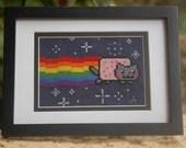 NYAN CAT original cross stitch sampler. You may nerdgasm now. Always OOAK.