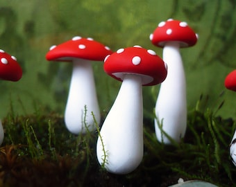 Red Amanita Toadstool Mushroom Stakes - Moss Terrarium or Planter Decor - Set of 3 - Whimsical Woodland Fairy Tale