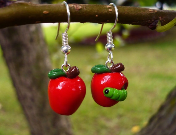 50% Off! Fall Orchard Apple Harvest Earrings - Red with Green Worm - Polymer Clay Dangle Earrings Clearance Sale