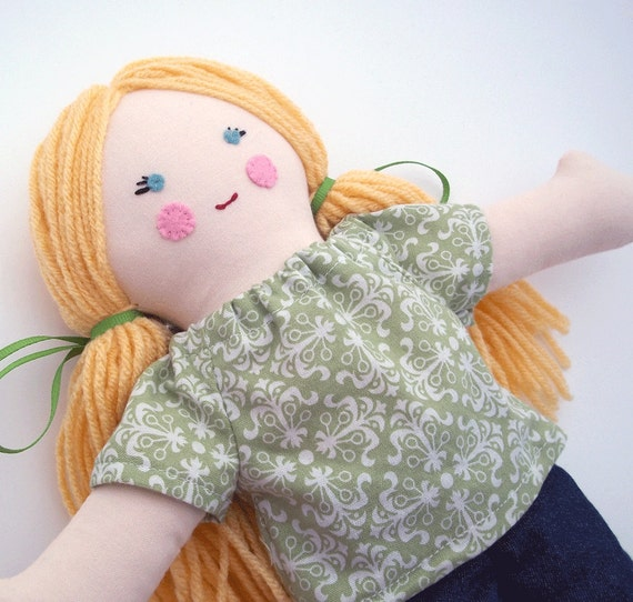 Traditional Cloth Rag Doll Blonde Hair Blue Eyes Green Shirt Blue Jeans