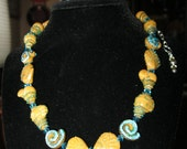 """Funky summer seashell and crystal necklace 16"""" with extender,"""