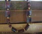 "20"" Tiger Iron tile necklace, earthtones, elegant"