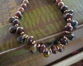 "Dainty stone necklace 18"" jasper and tiger iron FREESHIP"