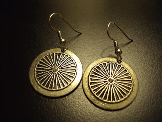 Pinwheel and gemstone earrings