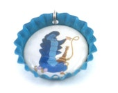 Caterpillar from Alice in Wonderland Bottlecap (Bottle Cap) Necklace, Cell Phone Charm, or Keychain (CB 016)
