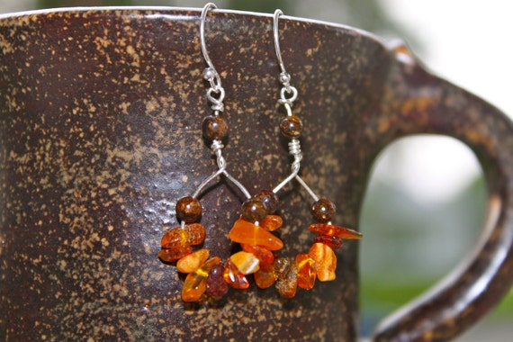 Baltic Amber Chips and sterling silver earrings