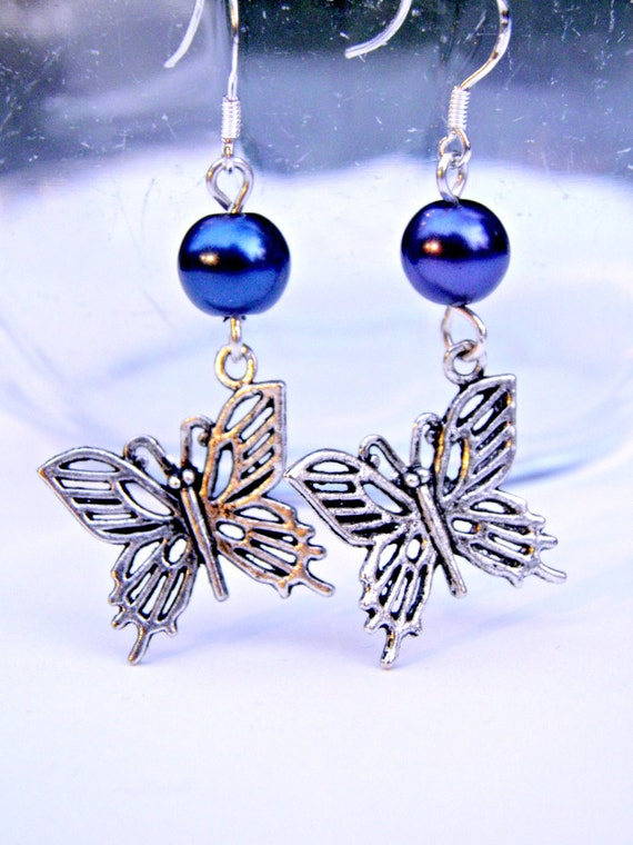 Sterling Silver Butterfly Earrings Glass Pearls Hypo Allergenic Nickel Free Earrings Butterflies Insect Jewelry RESERVED