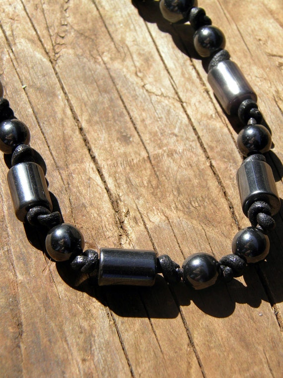 Mens Hematite Necklace Black Leather Cord Necklace Hand Knotted necklace