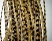 20 Natural Tan Grizzly & Solid Whiting Feather Hair Extensions 8-12 Inches