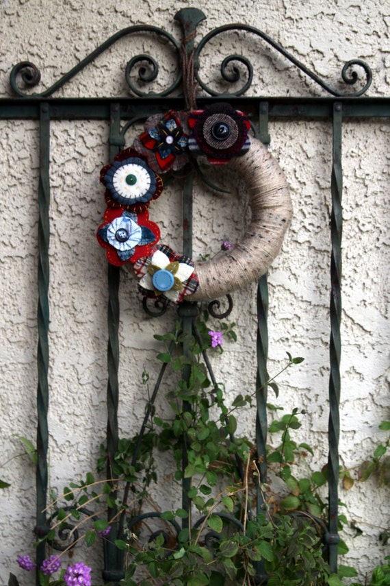 Felted Wool Flower Wreath with Penny Circles, Upcycled, Recycled