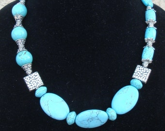 Turquoise Howlite and Silver Necklace with matching earrings
