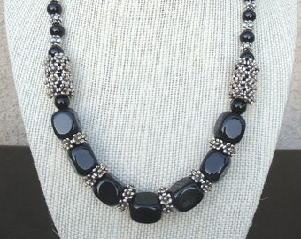 Black Agate, Black Jasper and Silver Necklace with matching earrings