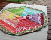 HOLIDAY SALE Drawstring Quilt. Beautiful Color Wheel Play Mat. Doubles as a Funky Carry Bag.