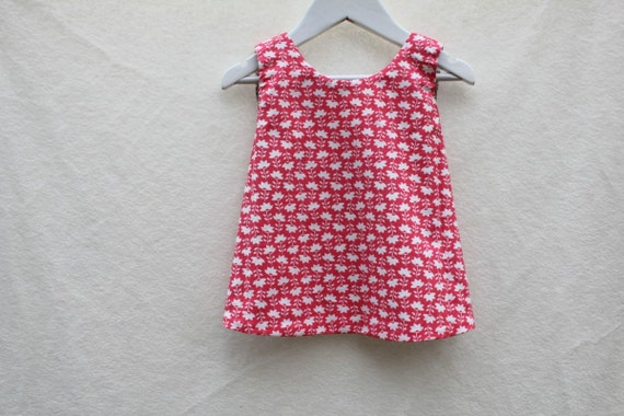 CLEARANCE. Reversible Girl's Dress/Pinafore. Ready to Ship in Size 3-9m. One of a Kind Designer Print.