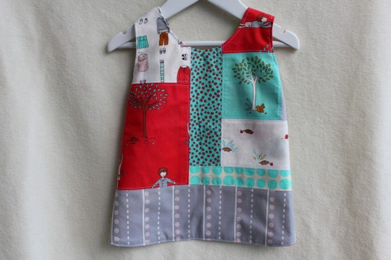 SALE Reversible Girl's Dress/Pinafore. Patchwork Front, Cert Organic Reverse. Size 6-18months. One of a Kind Designer Print.