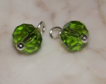 Peridot crystal gem cut Rondelle wire wrapped - add Dangle