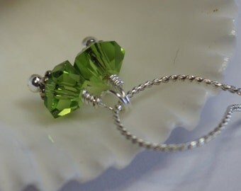 Peridot Swarovski Crystal Bicone   Wire wrapped - add Dangle