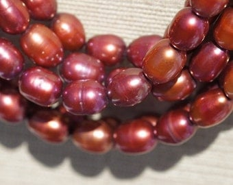 Luxe AA Freshwater pearl red, Red. Rice  8 mm, pack  of 1 strand 16 inches  Birthday July