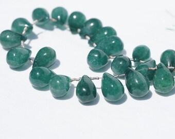 Green Onyx /Beads/ Smooth finished teardrop/Gemstone Teardrops/ Jewelry supplies. set of 2 pcs