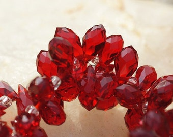 Red Crystal faceted briolette 11X6 mm, Jewelry supplies, pack of 10, Siam, Bead Supplies