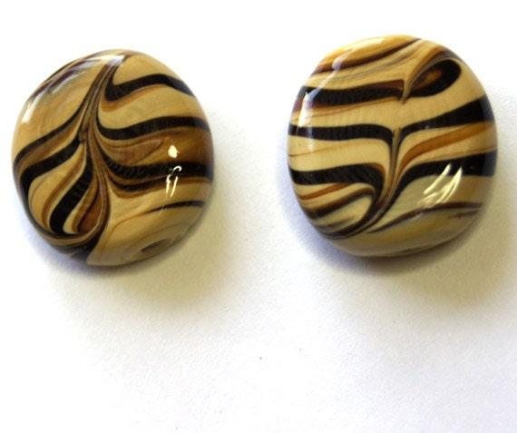 Lampwork tiger print beads 2pcs. Jewelry Supplies