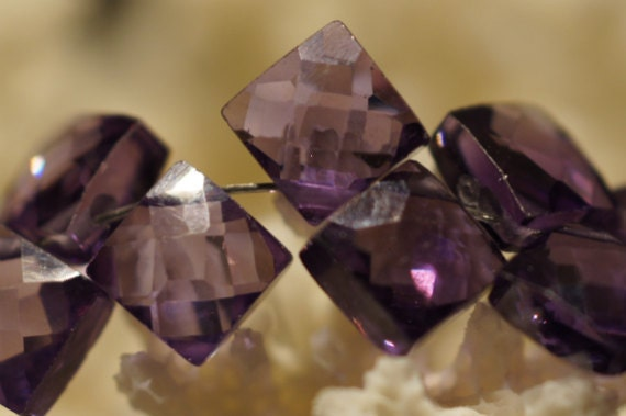 Black Friday Sale.Cubic Zirconia Amethyst micro faceted Diamond 6mm set of 10 pcs