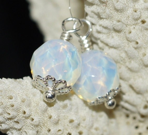 Opalite Faceted Round Beads Wire Wrapped- Add Dangles