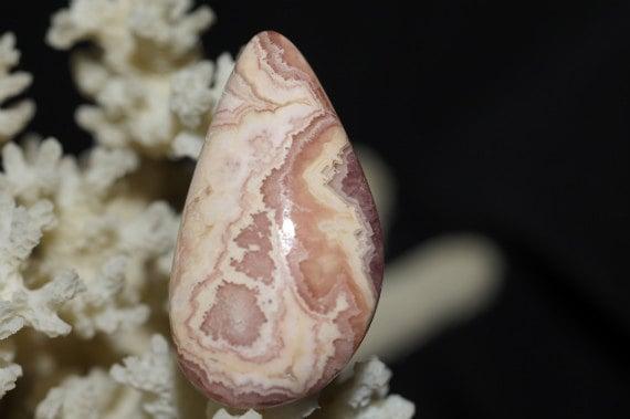 Rhodochrosite Natural Gemstone Cabochon . Handmade Cabochon, 34.1X18.9X6.2mm 7.79g. Gemstone Cabochons