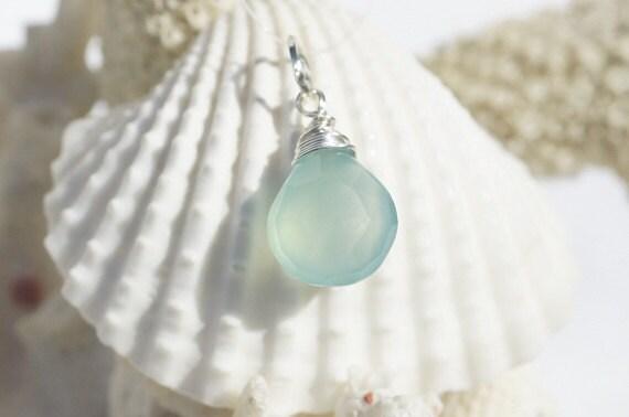 Aqua  Blue Chalcedony Wire Wrapped Briolette Pendant . Gemstone Pendant, Add Dangle