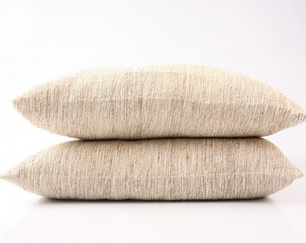"""ORGANIC: wild-silk pillow (19 x 19 """") with inlet or without in 5 different designs (see photos)"""