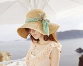 crochet  women sun hat with wide brim  accepting custom order