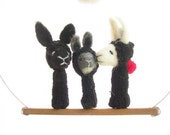 FINGER PUPPET MOBILE / Wall Hanging, Needle Felted Black and White Rabbit Family, Children's Room Decoration and Soft  Eco Friendly Toy
