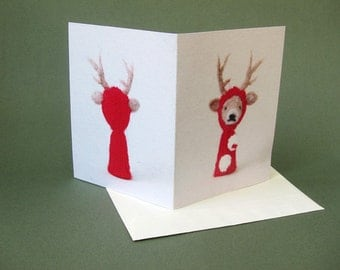 Christmas Card Set, needle felted deer, red, white, green
