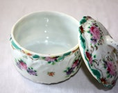 Antique Handpainted Porcelain China, Hair Jar, Trinket Box, Vanity Dish. Flowers, Gold trim.