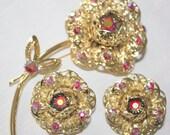 Vintage Sarah Coventry, Red Pink Aurora Borealis Rhinestone, Filagree Style, Flower Demi Parure.