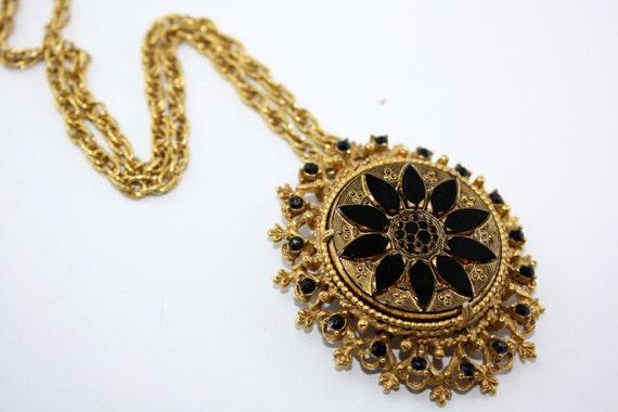 "Beautiful Vintage Florenza Necklace 24"" Long, Lovely Black Detail, Elegant Victorian Revival."