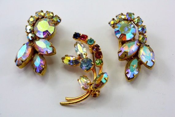 D&E Juliana Style Aurora Borealis Earrings with Delicate Multi Rhinestone Brooch which looks Austria. Jewelry Lot