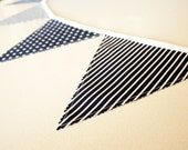 Bunting. Fabric bunting flags. Navy blue and white bunting banner penants. Nursery and playroom decor, party photo prop by Funkybunts