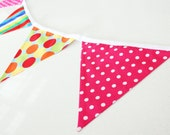 Bunting Hot Pink, lime green, red & blue stripes and spots fabric bunting banner. Decor for nursery playroom and party