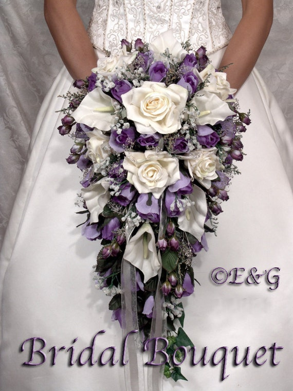 Wedding Bouquet Packages Silk : Bridal bouquet package silk flowers cascade bridesmaid