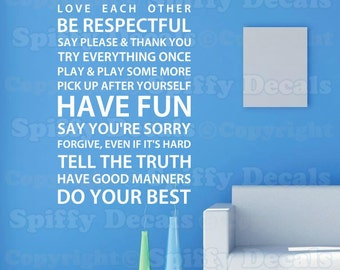 House Rules love play fun forgive vinyl wall quote