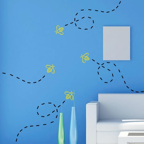 6 Bumble bees with bee trail vinyl wall decal