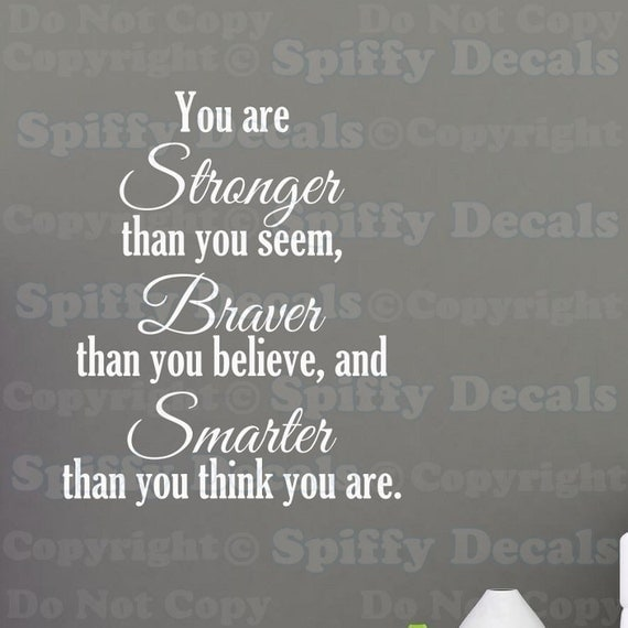 Stronger Braver Smarter Winnie the Pooh vinyl wall quote