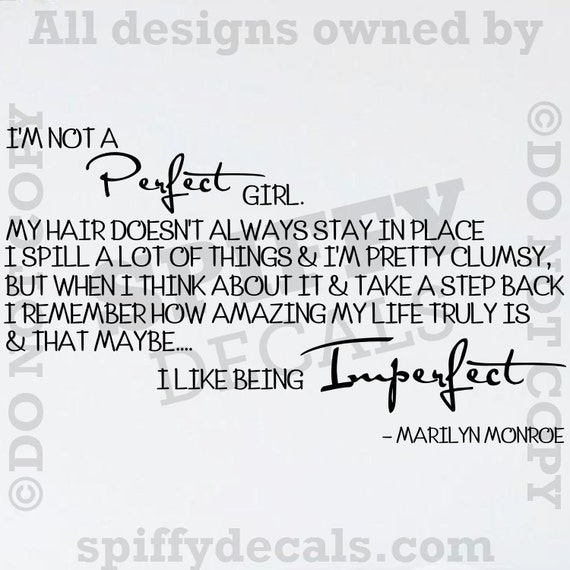Im Not A Perfect Girl Marilyn Monroe Vinyl Wall Quote-4977
